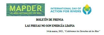 Boletín de prensa «LAS PRESAS NO SON ENERGÍA LIMPIA»