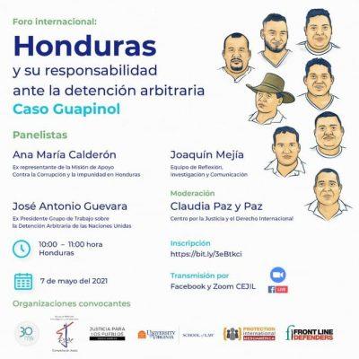 📣 Foro Internacional: Honduras y su responsabilidad ante la detención arbitraria: caso Guapinol