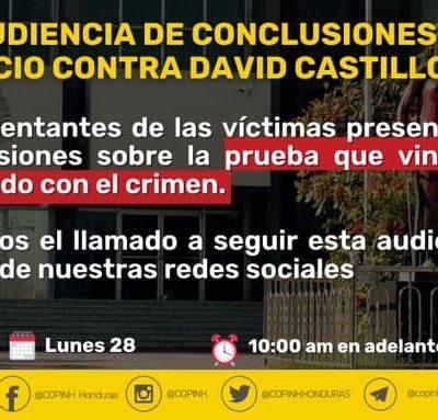 Audiencia de conclusiones, en el juicio contra David Castillo