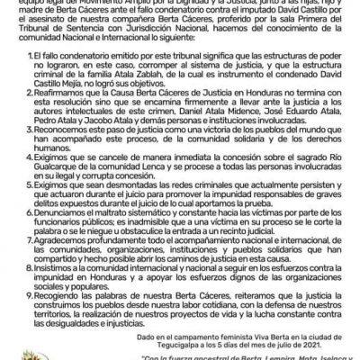 COMUNICADO COPINH. UNA VICTORIA POPULAR PARA BERTA: UN PASO AL ROMPIMIENTO DEL PACTO DE IMPUNIDAD